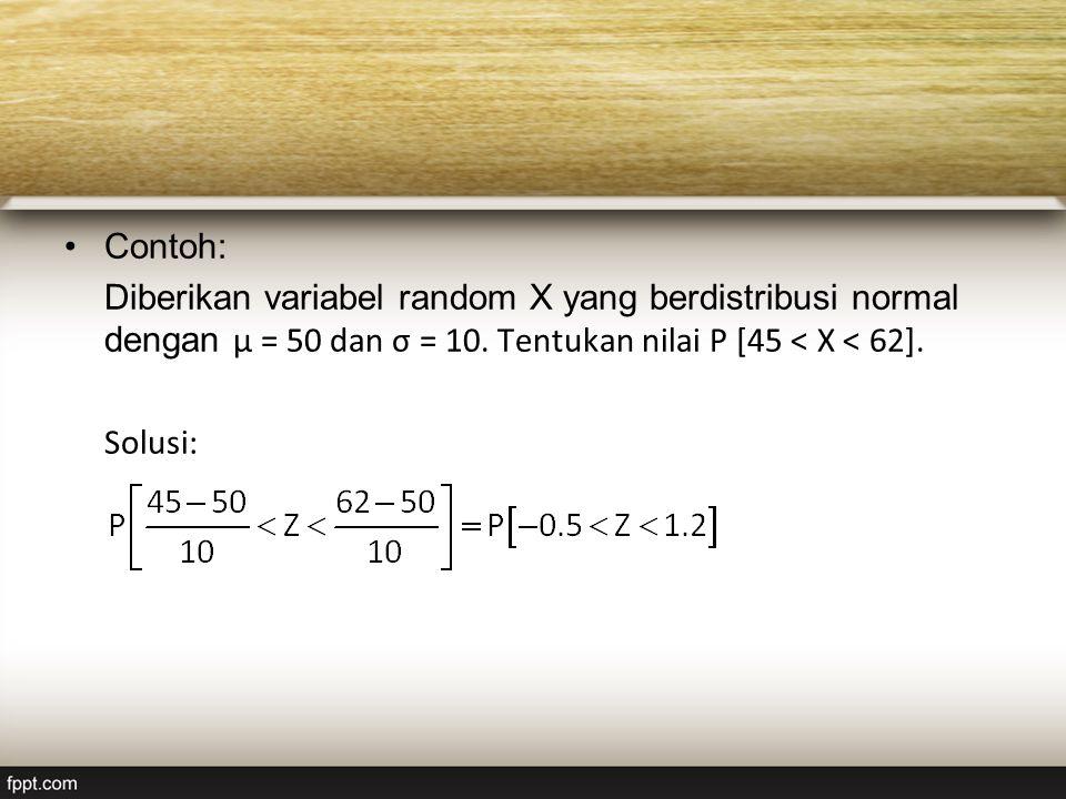 Contoh: Diberikan variabel random X yang berdistribusi normal dengan μ = 50 dan σ = 10. Tentukan nilai P [45 < X < 62].